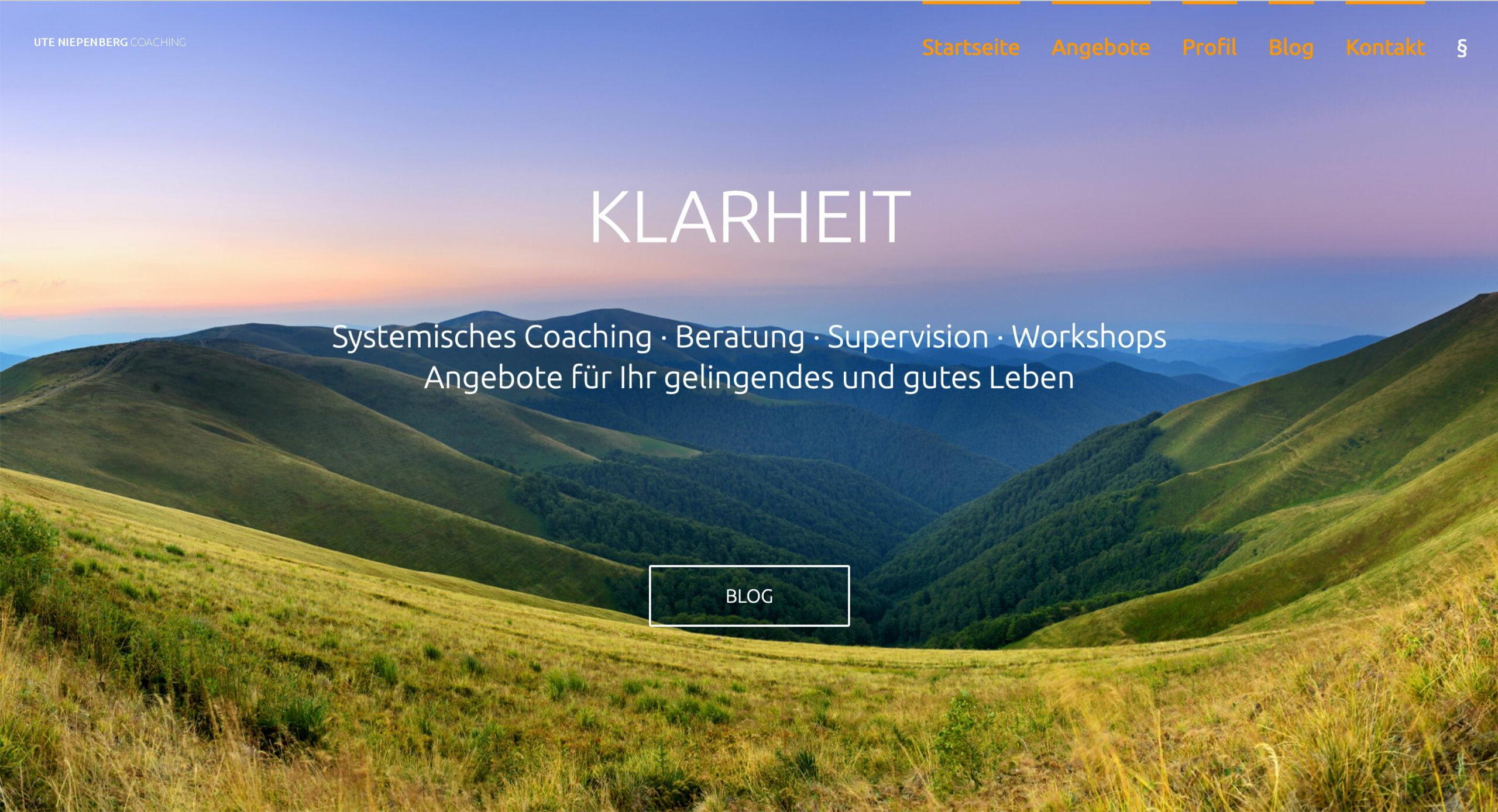 Foto Webseite von Coach Ute Niepenberg